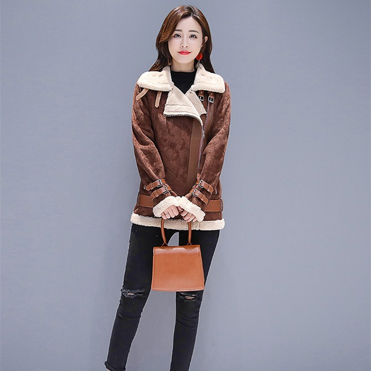 New Arrival Women Pockets Belt Outerwear Autumn Winter Turn Down Collar Coffee Jackets Casual Long Sleeve Warm Coats