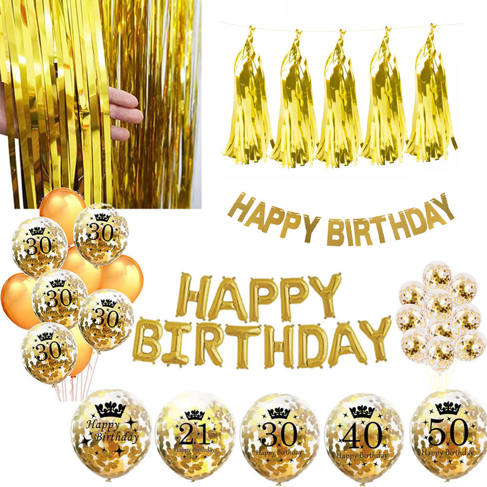 """8 Black Shimmer Happy Birthday Party Large 9/"""" Metallic Disposable Paper Plates"""