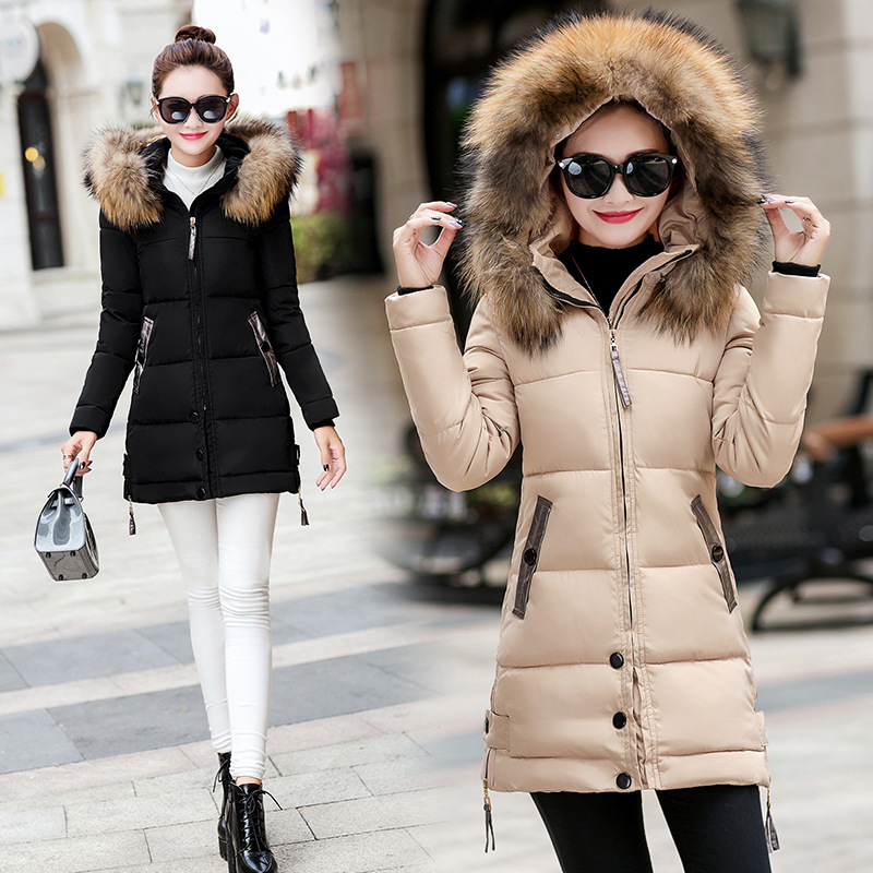 2018 Hot Korean Style Long Version Woman Winter Jacket Slim Fit Cotton-Padded Clothes Hooded Big Fur Collar Female Coat