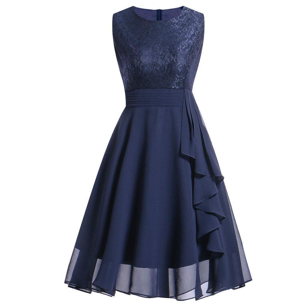 AL'OFA Women Elegant   Evening     Dresses   Round Neck Sleeveless Lace Chiffon Back Zipper   Evening   Party   Dress