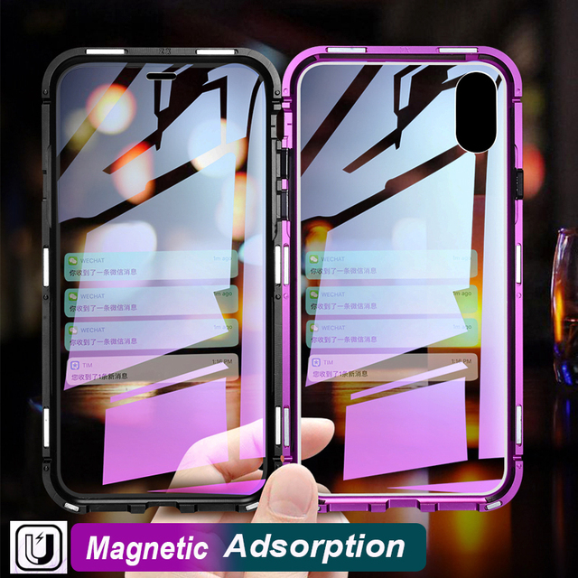 Double Side Glass Magnetic Adosorption Case For iPhone XS MAX XR XS 8 Plus 7 Plus X 10 9 Plus Gradient Glass Magnet Flip Cover