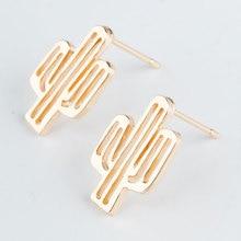 Trendy Elegant Zinc Alloy Stainless Steel Silver Gold Color Plant Stud Earrings for Women