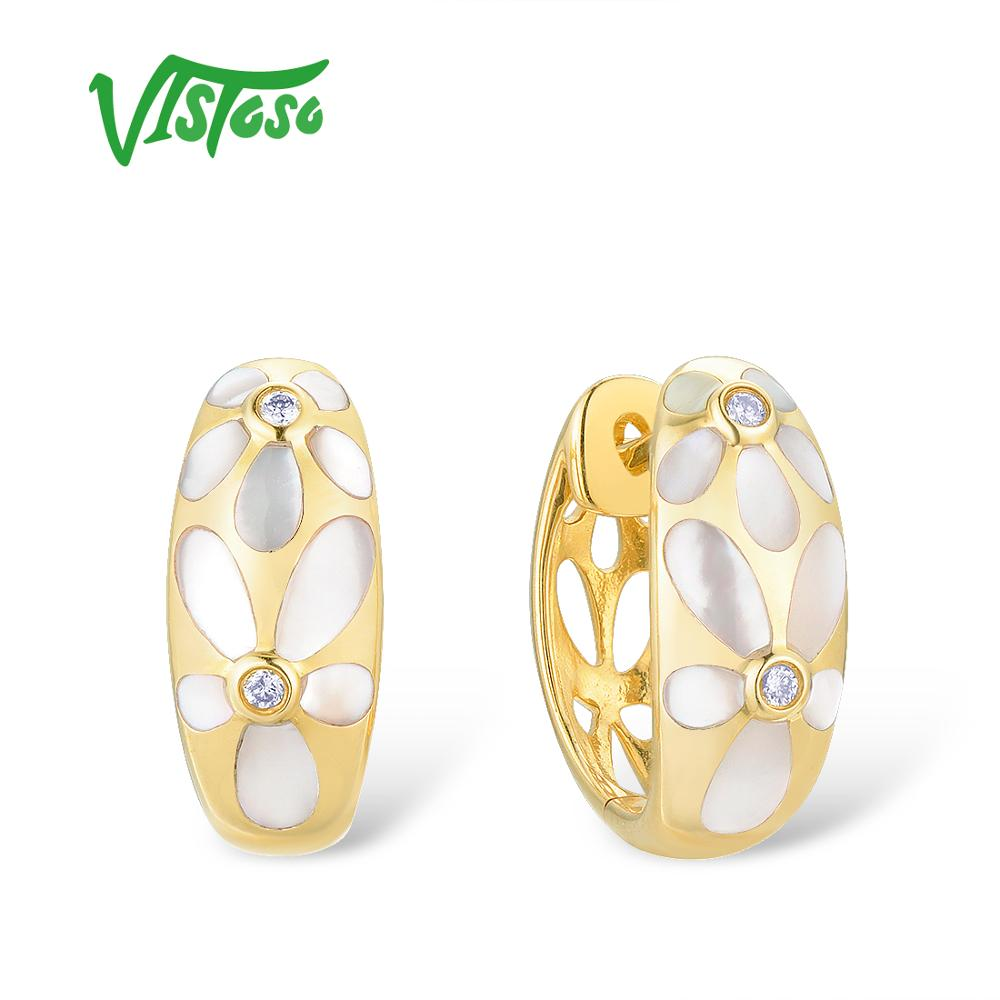VISTOSO Gold Earrings For Women Pure 14K 585 Yellow Gold Fancy Flower White Mother of Pearl
