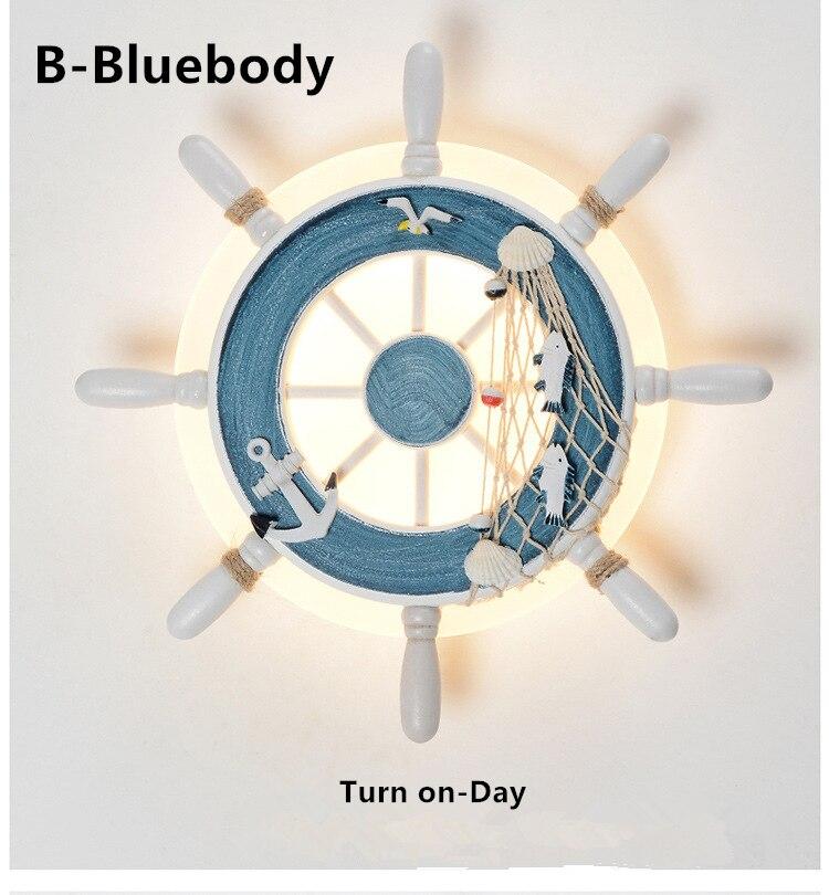 Gouvernail d'intérieur Ocean applique blanc bleu Art déco thème créatif chambre chambre enfant bois acrylique blanc chaud RGB