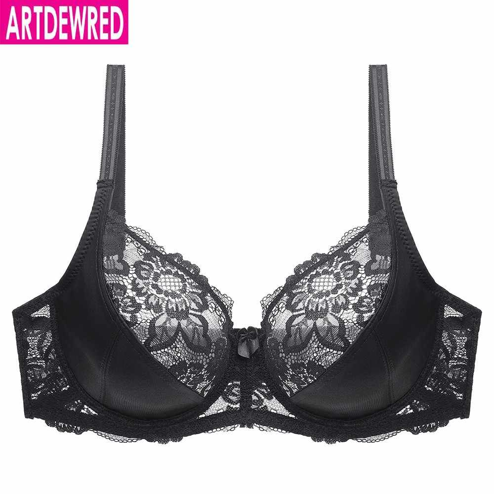 New Lace Perspective Bra Women Sexy Lingerie Underwire Embroidery Floral Bralette Plus Size C D E 80 85 90 95 100 105