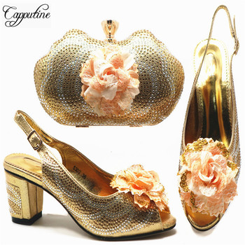 Capputine Nice Design Italian Gold Shoes With Matching Bags Latest Rhinestone African MiddleHeels Shoes And Bags Set For Party