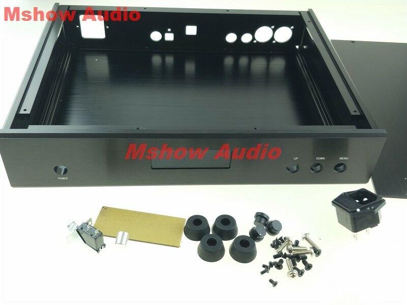 full Aluminum chassis DAC case for DUAL AK4497 DAC DIY audio Black 32 6 25cm