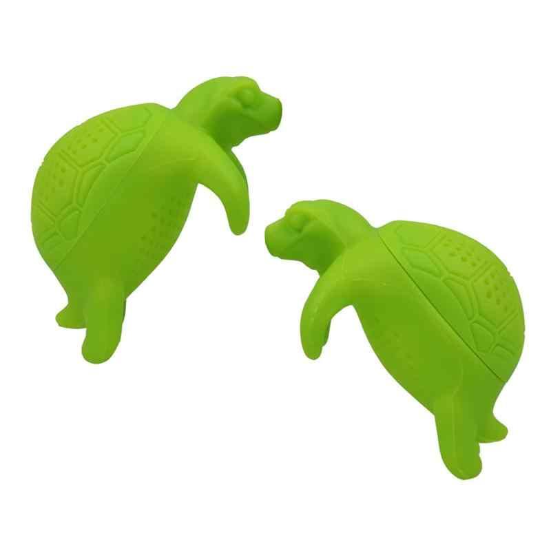 2 piezas de Infusor de té de tortuga de silicona lindo Animal hoja suelta té colador filtro difusor utensilios de cocina Gadgets