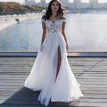 Sexy Beach Wedding Dresses 2019 Side Split Vestido De Novia Cap Sleeve Scoop Neck lORIE Gowns Applique Robe Mariage