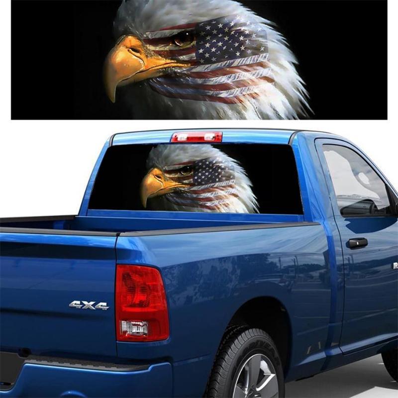 135cmx36cm Flaming Skull Rear Window Graphic Decal Sticker For Car Truck SUV Van