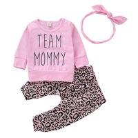 Топы для маленьких девочек, футболка, штаны с надписью, леопардовая повязка, комплект одежды из 3 предметов, повседневный комплект одежды дл...