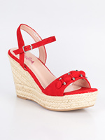 Red sandals wedge rope