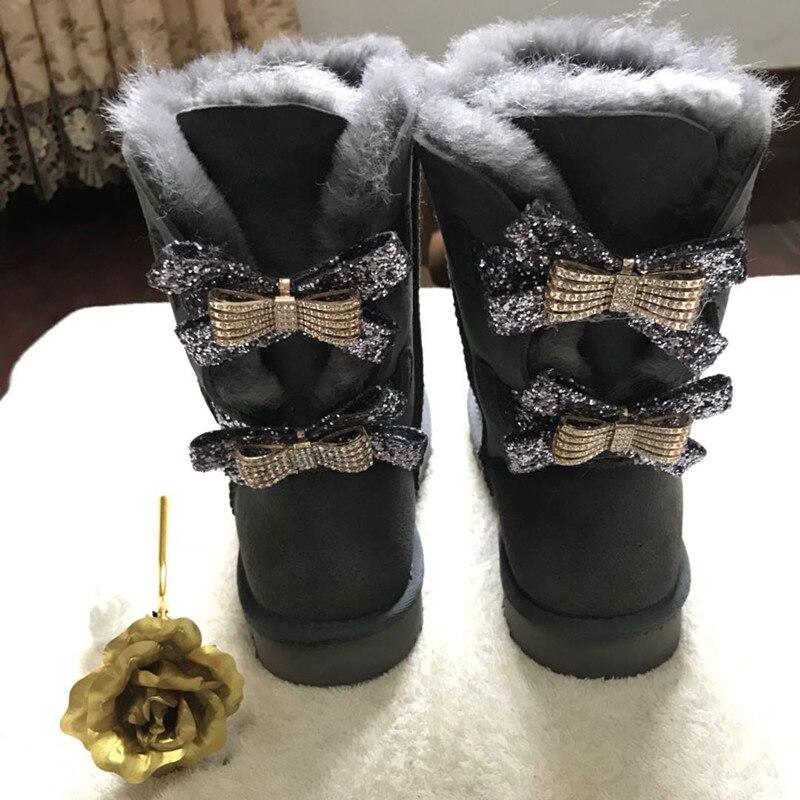 Maroon mollet Rouge Neige Bottes D'hiver noir Femme Mode vin Deux Arcs Peau Femmes Mouton Mi De gris 2018 En pourpre Chaussures Réel Véritable Cuwhf ZqgUwc