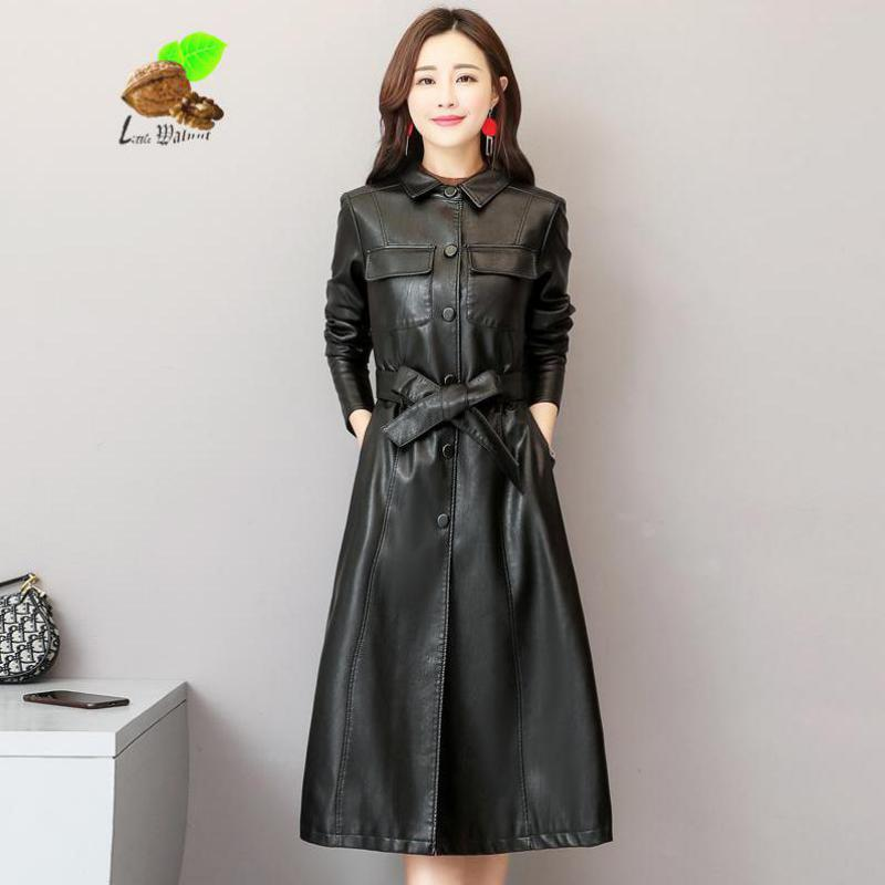 Women Vintage X-long Genuine Sheep Leather Spring Turn-down Collar Single Breasted Plus Size   Trench   Coats Windbreaker