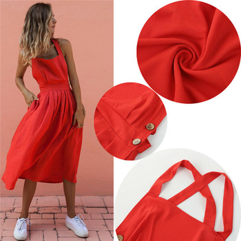 Women Summer Boho Strappy Long Maxi Dress Sexy Backless Party Red Dress Beachwear  Sundress vestido mujer 3