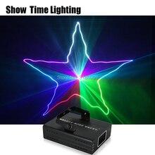 쇼 시간 홈 파티 DJ 레이저 프로젝터 스캐너 라인 레이저 DMX RGB 무대 조명 디스코 크리스마스 파티 1 홀 레이저 쇼