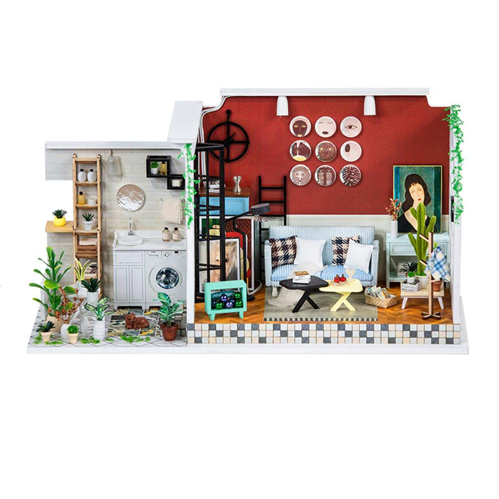 Kit de maison de poupée Miniature en bois bricolage Art maison artisanat cadeau d'anniversaire créatif pour les filles jouet assemblé à la main ornements décoratifs