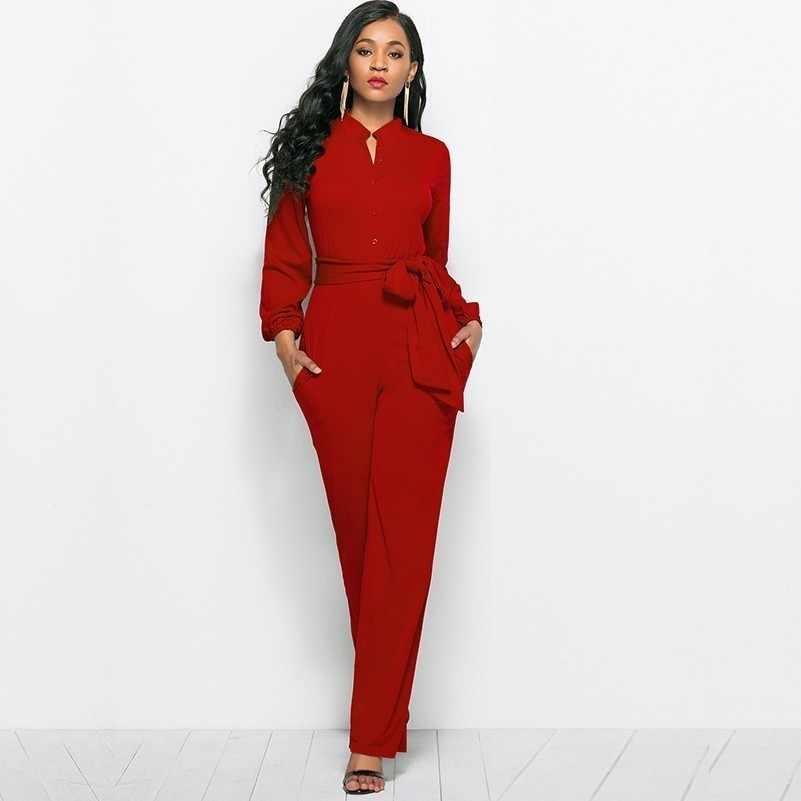 3fd5c52466b8 Mono rojo a la moda para mujer, Mono para mujer, ropa de calle de una  pieza, talla grande, manga larga, pierna ancha elegante