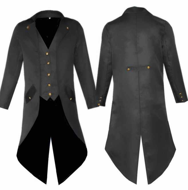 Volwassen Man Punk Retro Prins cosplay Smoking Kostuum Mode Lange Trenchcoat Rood Zwart Paars Kostuums mannen Party Uniform Jas