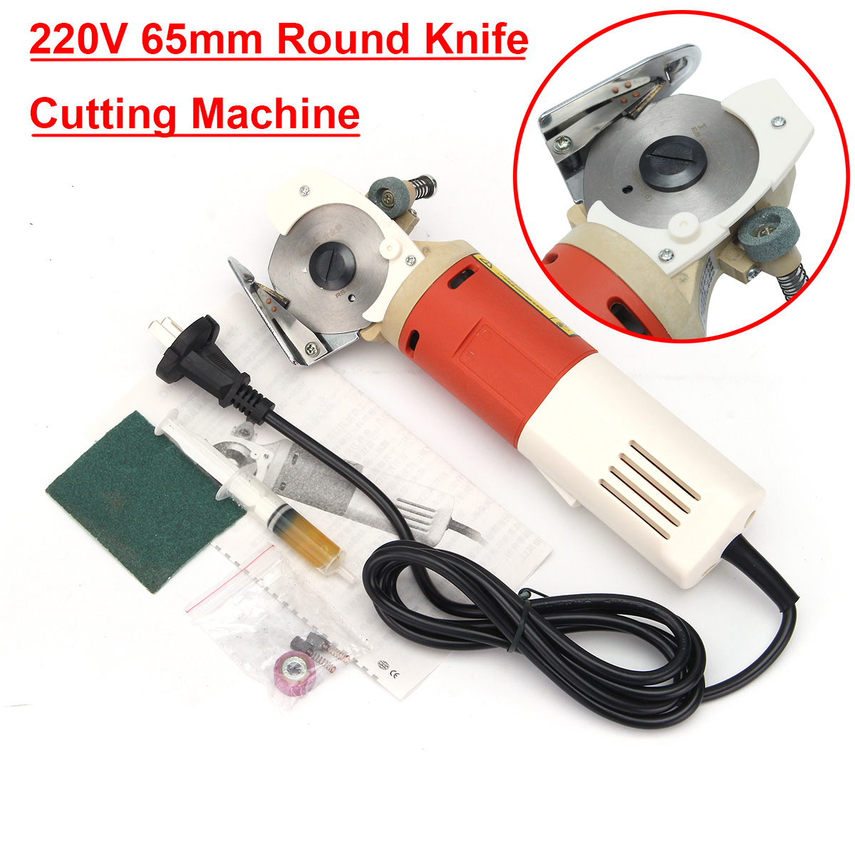 65mm Rotary Blade Electric Round Knife Cloth Cutter Fabric Cutting Machine 220V AC 150W