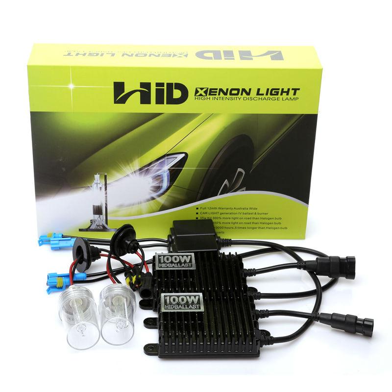 Haute puissance 100 W H4 Xenon H11 H7 H1 H3 9005 HB3 9006 HB4 HID Kit 4300 k 5000 k 6000 k 8000 k hid ballast ampoule xénon pour phare de voiture
