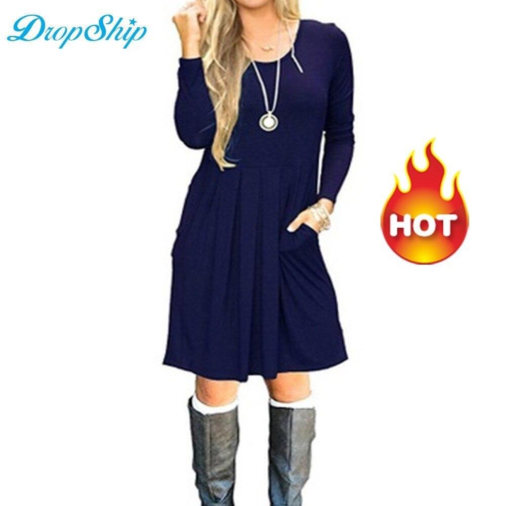 Dropship Winter Costume Gown Femme Hiver 2018 Midi Vestidos Vestido Ladies Clothes Garments Jurken Abiti Donna Vestiti Donna Blue
