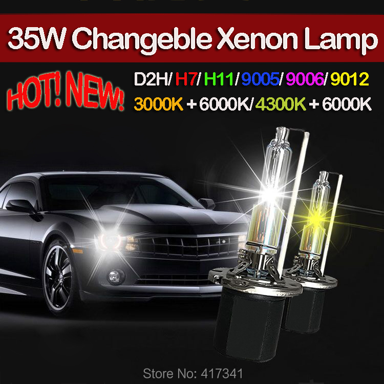 New Dual Colors HID Xenon Lamp 35W Changable Kelvin 3000K+6000K for Headlight replacement D2H/H7/H11/9005/9006/9012