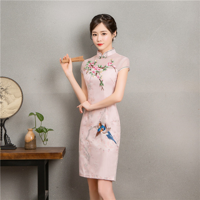 246bd57f387cb Fashion New Embroidery Cheongsam Short Dresses Women Traditional Chinese  Clothing Qi Pao Orientale Pink Daily Dress Robe Gown