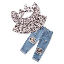 2019 New Fashion Children Girls Clothes Off shoulder Crop Tops Print+ Hole Denim Pant Jean Headband 3PCS Toddler Kids Clothing