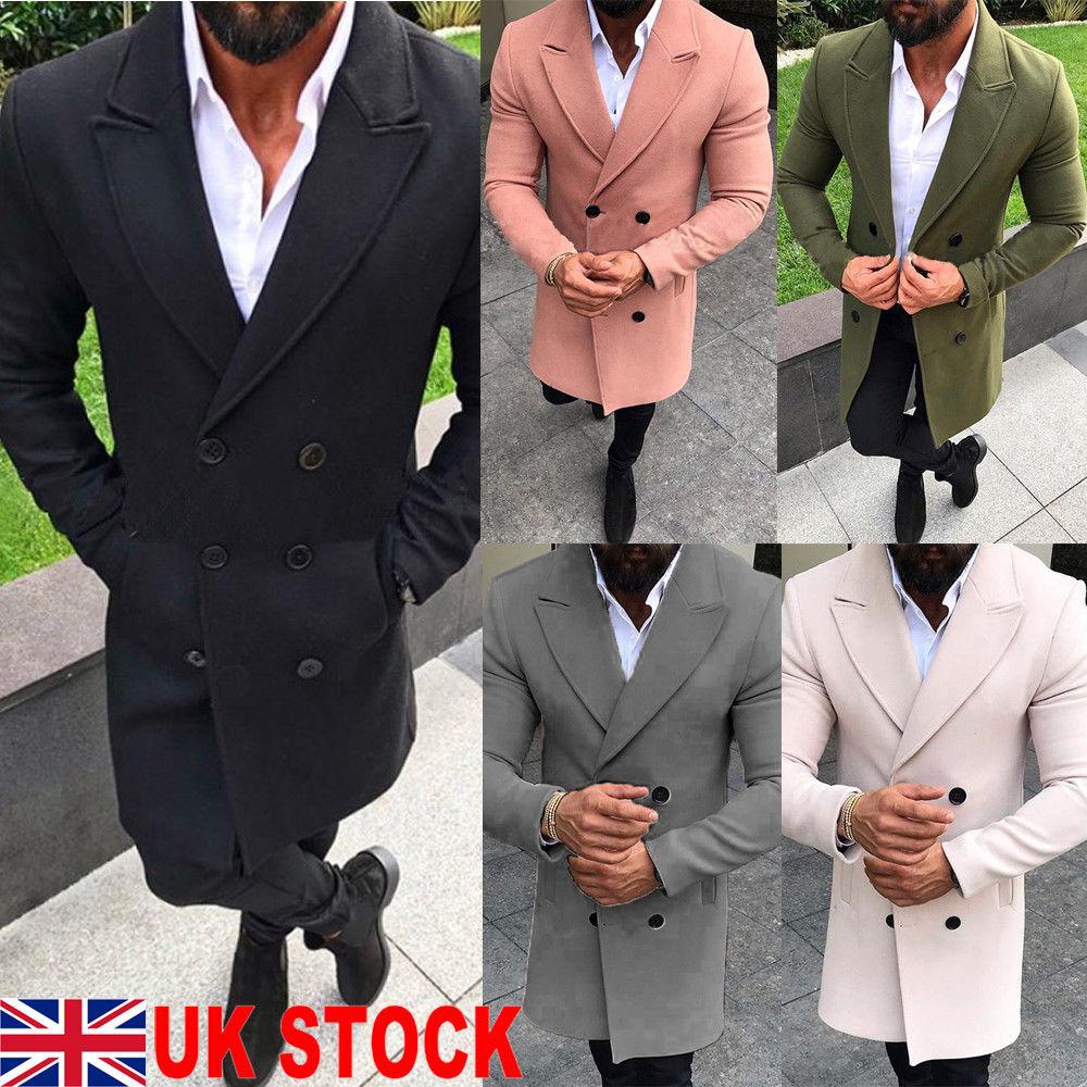 Thefound 2019 New Men Wool Coat Winter Trench Lapel Outwear Warm Overcoat Long Jacket Peacoat