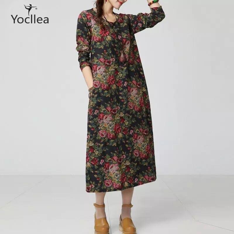 Comprar Nuevo Otoño Femenino Vestido Estampado étnico De Lino ... 2abfef936f02