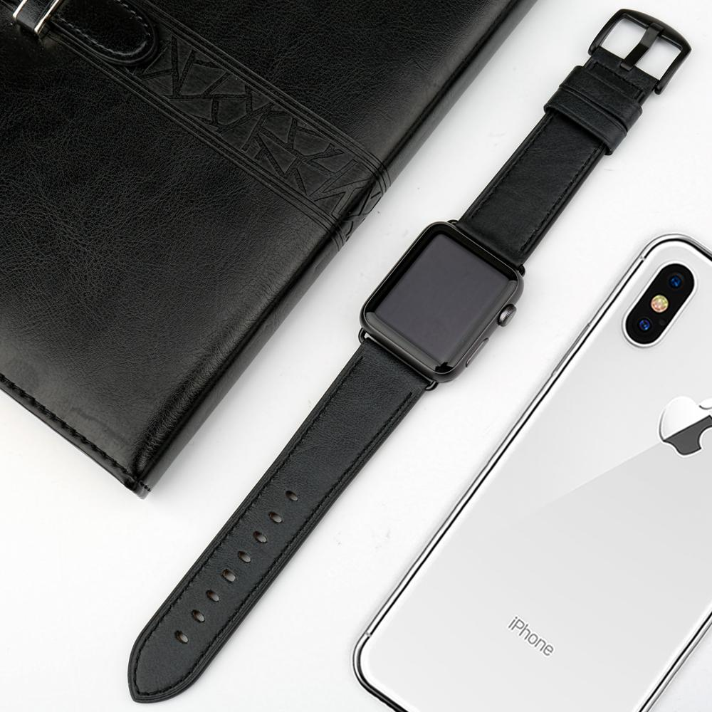 MAIKES Genuine Leather Watch Accessories For Apple Watch Bands 44mm 42mm Apple Watch Band 38mm 40mm iwatch Strap Series 4 3 2 in Watchbands from Watches