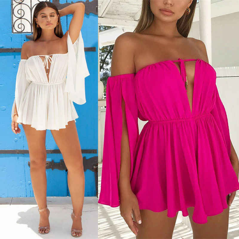 Women Boho Beach Summer Off Shoulder playa Dress Elegant Long Sleeve High Waist Tunic Evening Party Club Ladies Clubwear