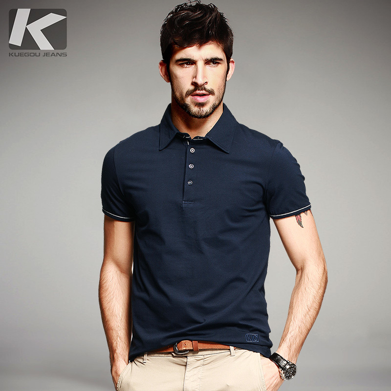 KUEGOU Summer Mens Casual Poloshirts Patchwork Blue Color Brand Clothing Man's Short Sleeve Clothes Male Wear Slim Fit Tops 901