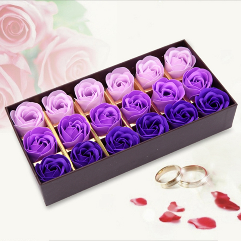 68f379fff9e650 Wysoka Jakość Nowy Mydło Sztuczne Róże Wysokiej Klasy 18 sztuk Box-pakowane  Romantyczne Walentynki Prezent Ślub Dekoracyjne kwiaty