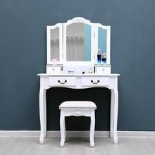 White Tri-Folding Mirror Vanity Set 4 Drawers Dressing Table Makeup Desk & Stool US Shipping Home room bedroom decoration(China)