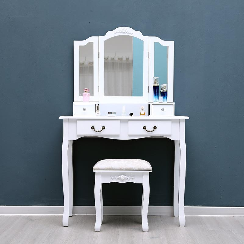 White Tri Folding Mirror Vanity Set 4 Drawers Dressing Table Makeup Desk & Stool US Shipping Home room bedroom decoration