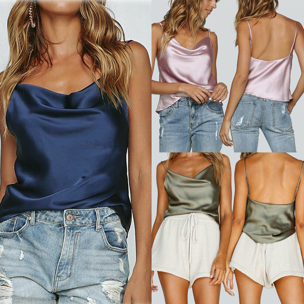 Satin Vest Silk Tank-Tops Top Sleeveless Lace Girls Casual Fashion Women Summer Solid