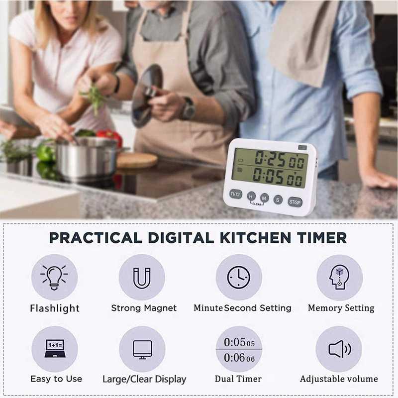 YS Digital double minuterie de cuisine, minuterie d'intervalle, minuterie de Cycle, minuterie de cuisson, minuterie de compte à rebours, grand écran, Volu réglable