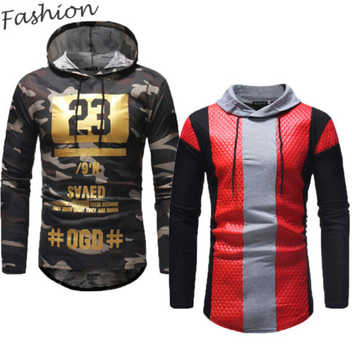 Men's Camouflage Patchwork Sweatshirts Hoodies Bodybuilding Fashion Long Sleeve Pullover Tops
