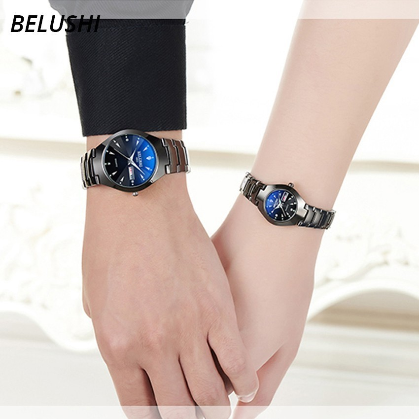 Lovers Watches Luxury Quartz Wrist Watch for Men and Women Belushi Dual Calender Week Steel Couple Watches Relogios Masculino