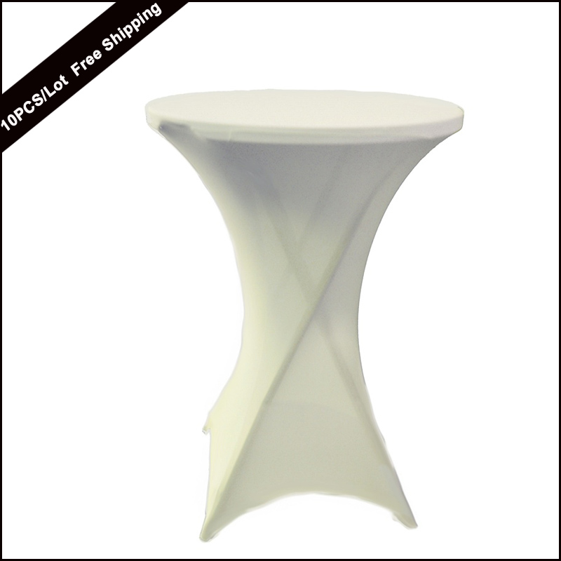 10PC Textile Factory Wholesale High Quality White Lycra Dry Bar Table Cover High Cocktail Table Cover