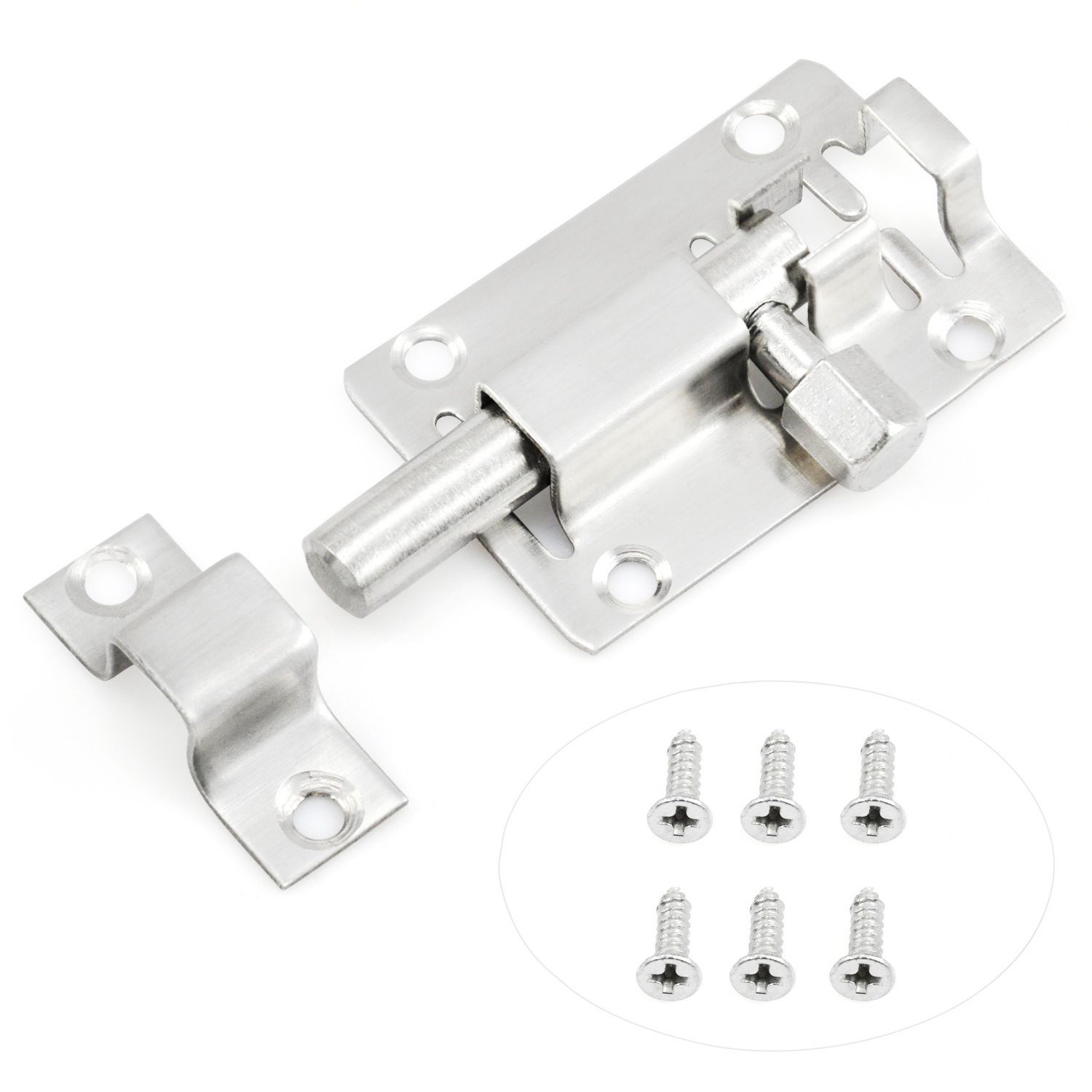 WSFS Hot 13mm Long Door Lock Slide Bolt Stainless Steel Door Latch Bolt Latch For Bathroom, Toilet, Shed, Bedroom, Furniture