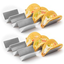 купить 1PC Creative Stainless Steel Taco Holder Stand Truck Tray Style Mexican Food Rack Stand Holds Kitchen Restaurant Gadgets Tools дешево