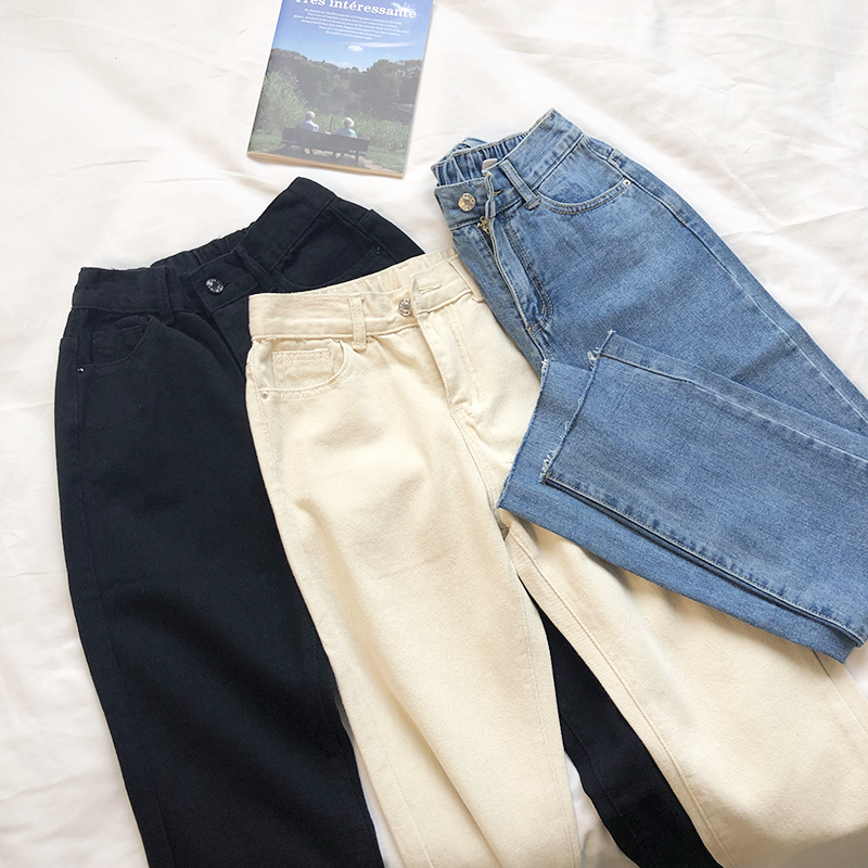 Elastic High Waist Vintage Women   Jeans   Blue White Black Fashion Denim Pants For Summer