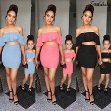 2019 Family Matching Women Girl Kid Outfits Ruffle Tops T-shirt Skirt Mini Dress Set gingham ruffle trim t shirt