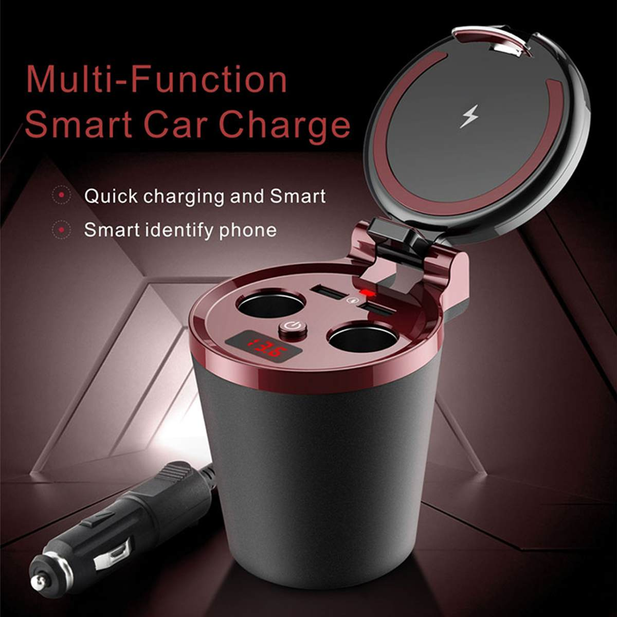 80W Qi Wireless Charger Station Car Cup Holder 2 USB For iPhone X XS Samsung S7 S8 S9