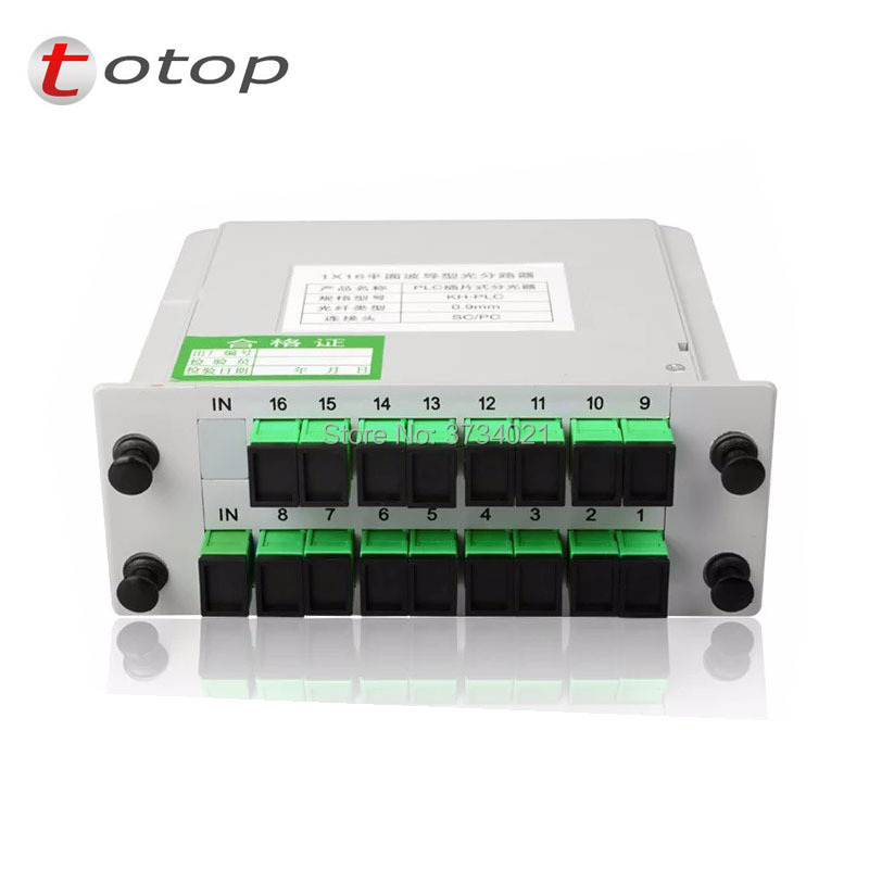SC APC PLC 1X16 Splitter Fiber Optical Box FTTH PLC Splitter 1:16 16 Ports Fiber Optical PLC Splitter