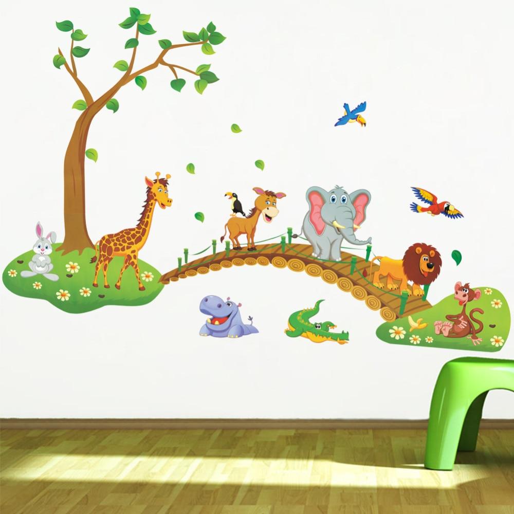 * 3D Cartoon Jungle wilde dieren boom brug leeuw Giraffe olifant vogels bloemen muurstickers kinderkamer woonkamer interieur