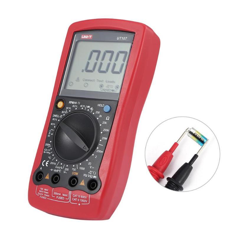 UNI-T UT107 LCD multimètre numérique portable automobile voiture compteur AC DC voltmètre testeur de courant tension Instrument - 3